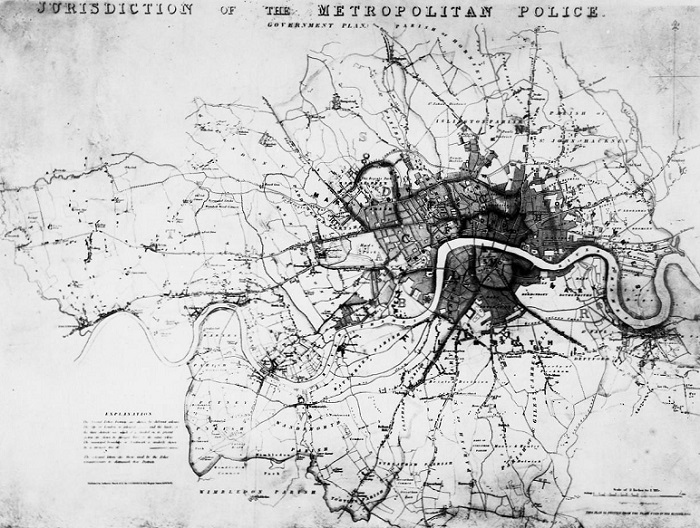 Map of Jurisdiction of the Metropolitan police 1837. Catalogue reference: MEPO 13/326