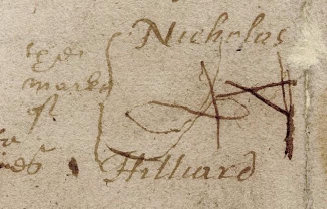 Close-up of the 'marke' of Nicholas Hilliard