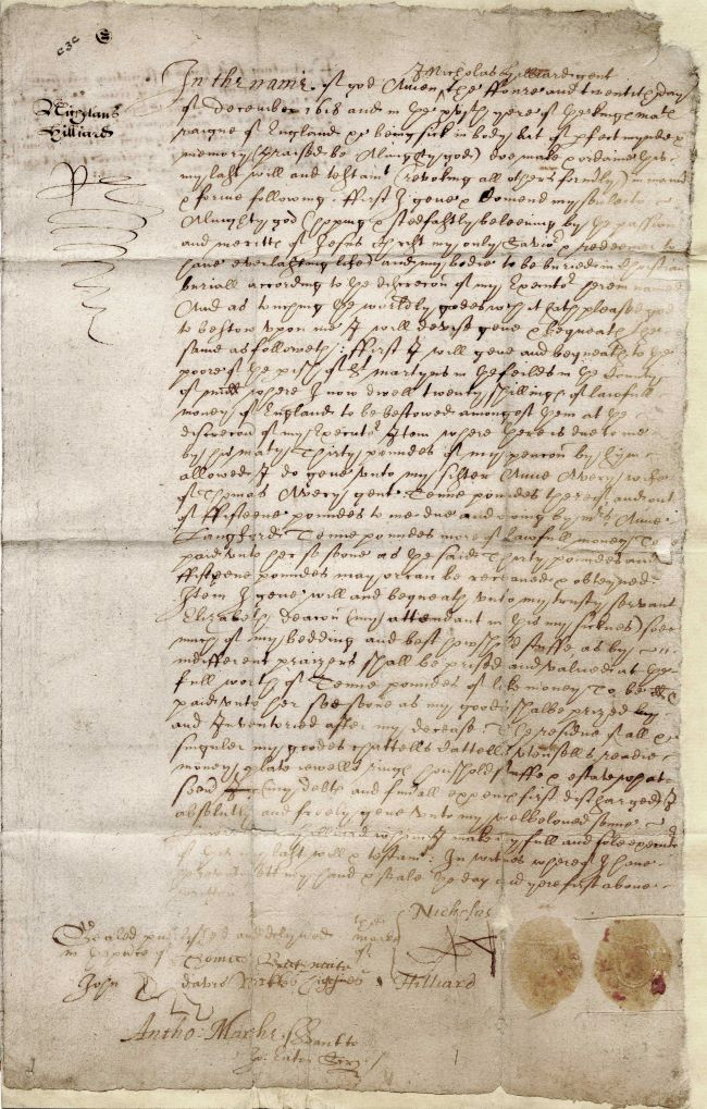 The original will of Nicholas Hilliard written 24 December 1618 (catalogue reference: PROB 10/360)