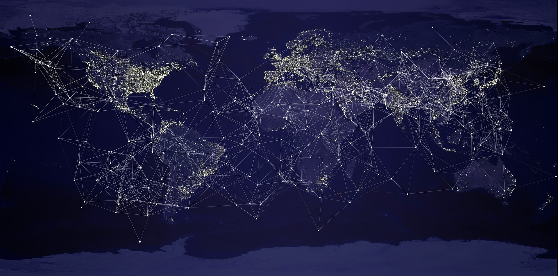 A map of the world at night with a network of bright lines between countries