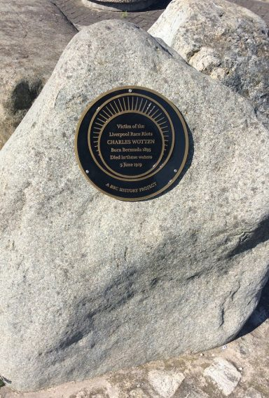 Commemorative plaque to Charles Wotten in the Queens Dock, Liverpool