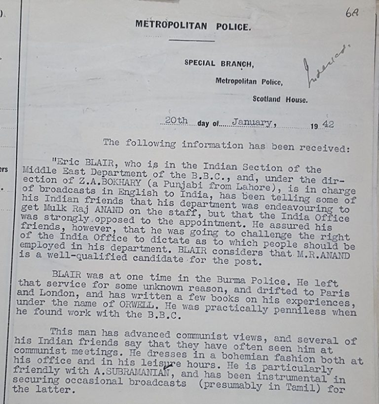 A 1942 Special Branch report on George Orwell, National Archives Catalogue reference MEPO 38/69
