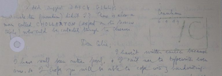 George Orwell's letter to Celia Kirwan, National Archives Catalogue reference FO 1110/89