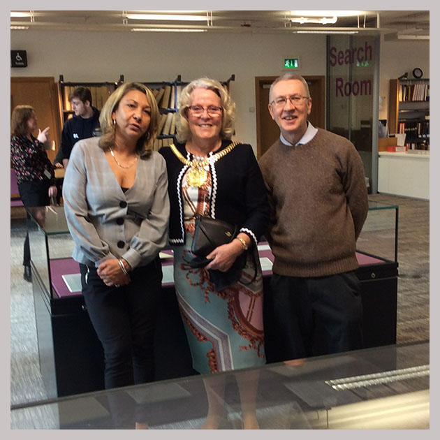 Madeline Heneghan, Lord Mayor Christine Banks and Michael Mahoney at the launch of the Race Riots 1919 exhibition in Liverpool.