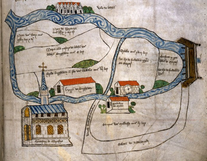 An outline of Chertsey, as depicted in the abbey's Cartulary, showing the location of Chertsey Abbey and other properties on the land and their proximity to the river.