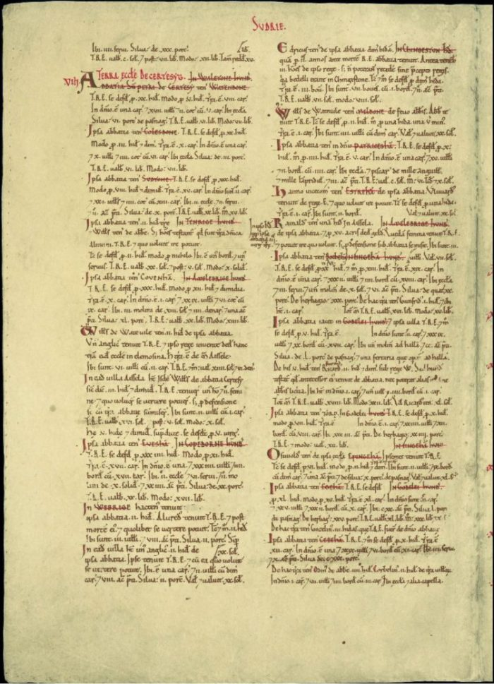 An entry for Chertsey Abbey in 1086 from the Great Domesday book. The document details landholdings of Chertsey Abbey across numerous locations including Cobham, Esher, Weybridge and Chertsey itself.