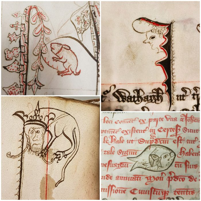 Assorted examples of doodles from scribe Manery, found often in the margins of entries in the Chertsey Abbey Cartulary.