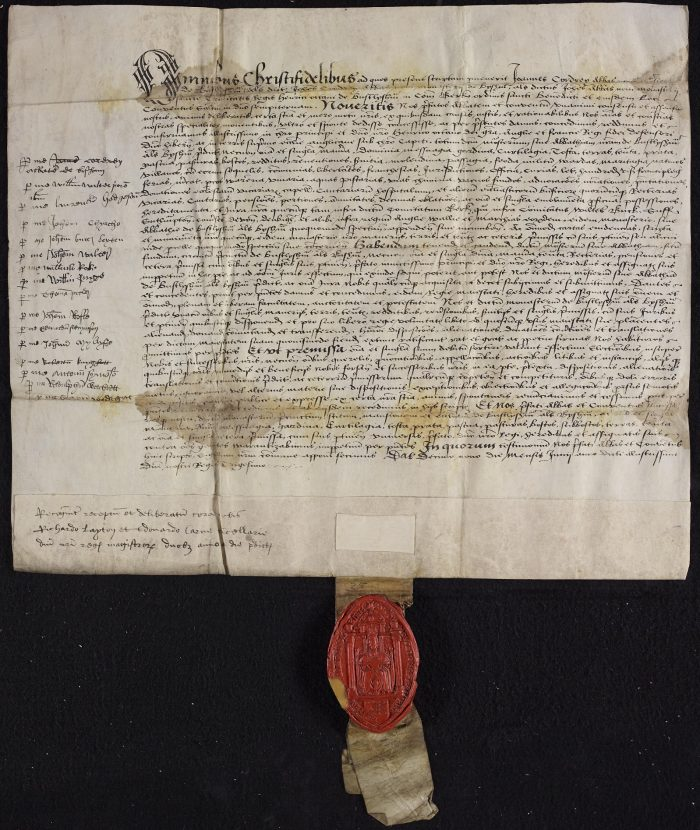 The document announcing the surrender of Bisham Abbey on 19 June 1538, signed by each of the monks individually.