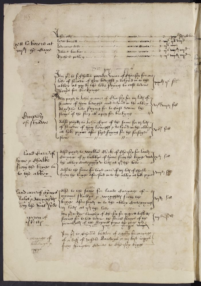 A page from the book documenting Chertsey Abbey's accounts, on the occasion of the dissolution of the abbey on 22 June 1538. Details include the entries for workers' daily wages.