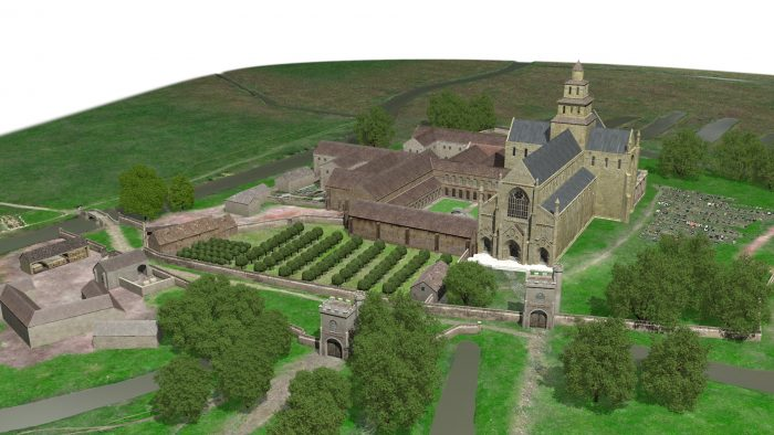 Three dimensional, computer re-imagination of what a fourteenth-century Chertsey Abbey would have looked like. The image is credited to James Cumper and Chertsey Museum.
