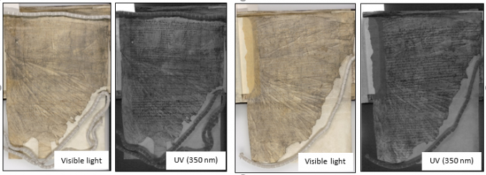 Four examples of medieval iron gall ink documents with faded inks. When imaged under ultraviolet light (UV) the ink reappears.