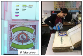 Example of infrared false colour imaging and XRF analysis used for pigment identification.