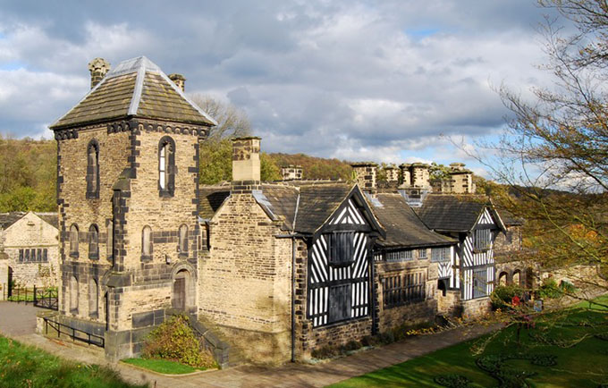 Colour photograph of the exterior of Shibden Hall and grounds.
