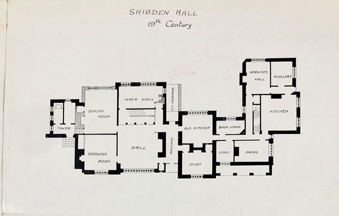Floorplan drawing of Shibden Hall.