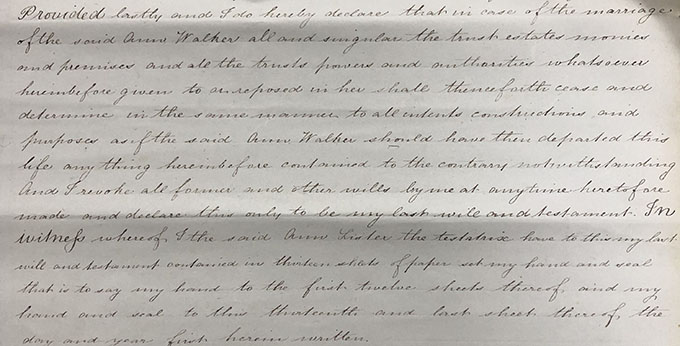 Handwritten extract from Anne Lister's will.