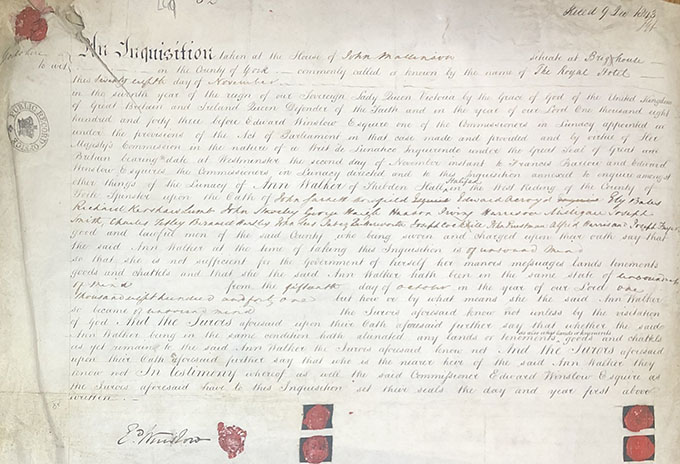 This is the document that accompanied Ann Walker being committed for lunacy. Dated 1843.