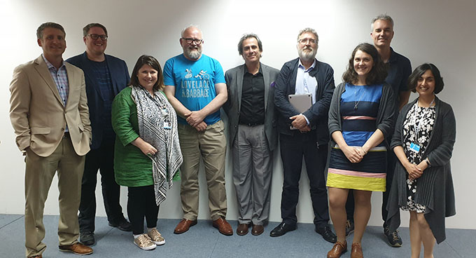 The core partners of the AHRC-funded CAS network photographed with Prof David De Roure and David Beavan, from the Alan Turing Institute's Data Science and Digital Humanities Working Group. Nine participants in the workshop feature in the photograph.