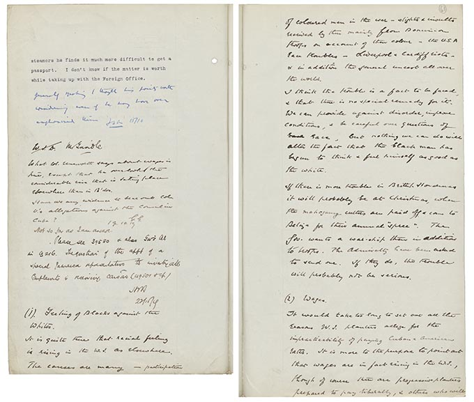 Hand-written note from Gilbert Grindle describing the impact and unrest caused by the riots.