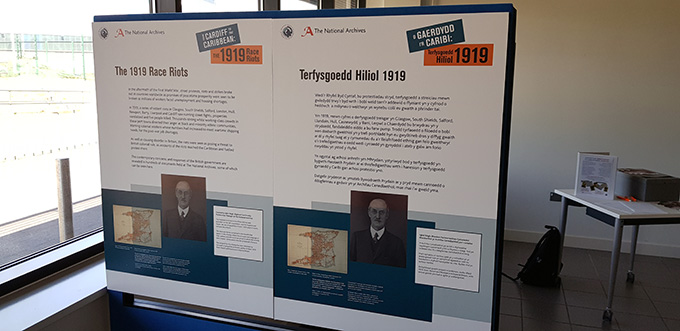 One of the panels from the 'From Cardiff to the Caribbean' exhibition, available in both Welsh and English text.