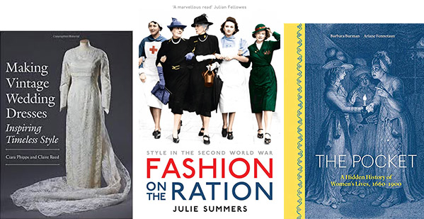Book cover images for How to Read a Dress, Fashion on the Ration, and The Pocket.