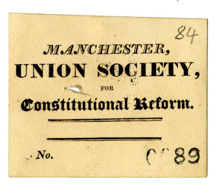 Card reading Manchester Union Society for Constitutional Reform