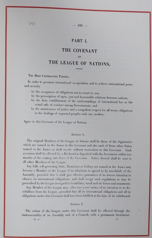 Section I, The Covenant of the League of Nations. TNA reference FO 93/11/74.