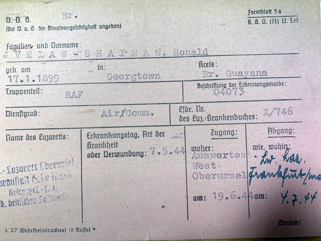 Medical card for Ronald Ivelaw-Chapman for his time as POW at Dulag Luft 1 Oberursel during the Second World War. Catalogue reference: WO 416/192/456 .