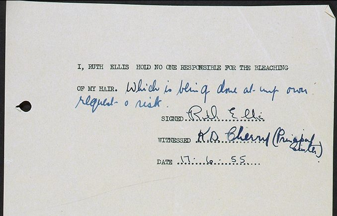 Statement by Ruth Ellis taking responsibility for the bleaching of her hair.