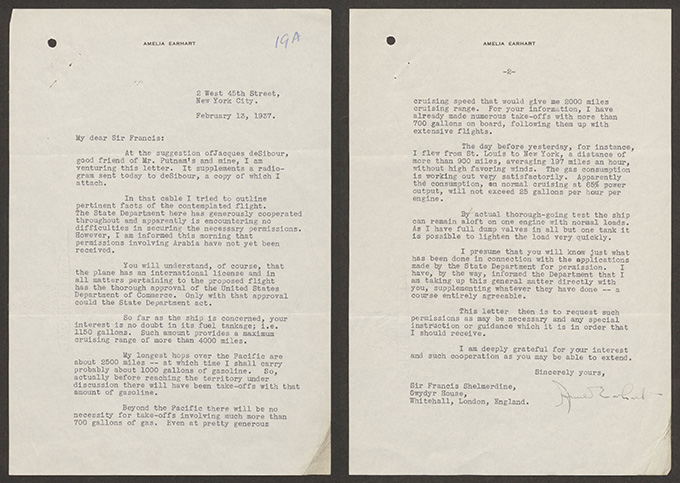 Amelia Earhart's letter to Sir Francis Shelmerdine, dated 13 February 1937.