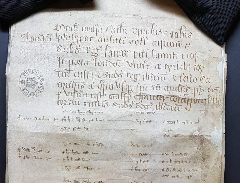 Manuscript document showing the particulars of account of customs at the Port of London 1380-1, overseen by Chaucer [catalogue reference: E 122/71/4]