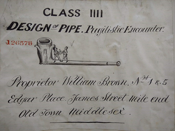 From the Design Registers (catalogue reference BT 43/67/126578), a sketch design of a pipe.
