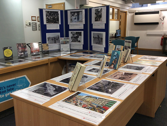 A selection of Caribbean and African images from The National Archives' collection on display at Roehampton Library.
