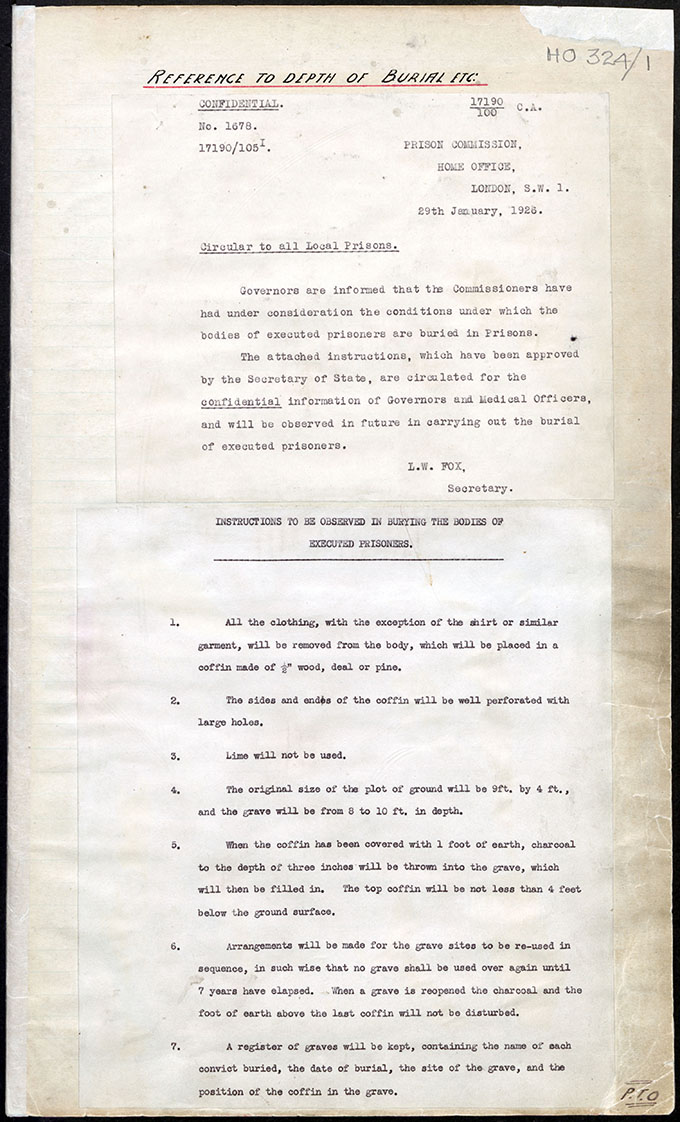 Typed page circulated to local prisons on 29 January 1926 giving instructions in the burying of bodies of executed prisoners.