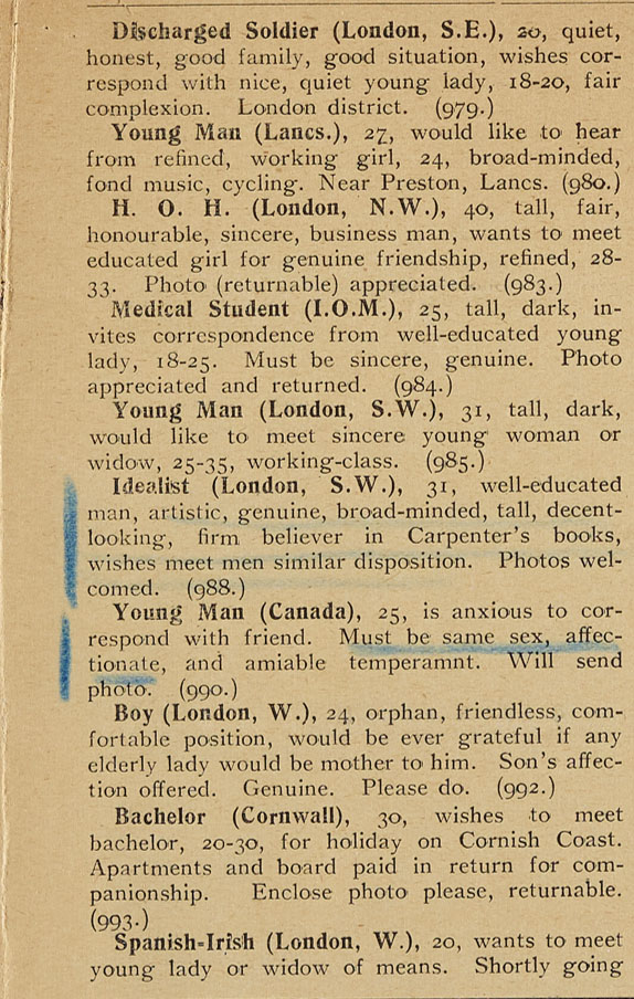 Sample list of classified adverts from issue No. 56 of The Link, September 1920, as underlined by R A Bennett.