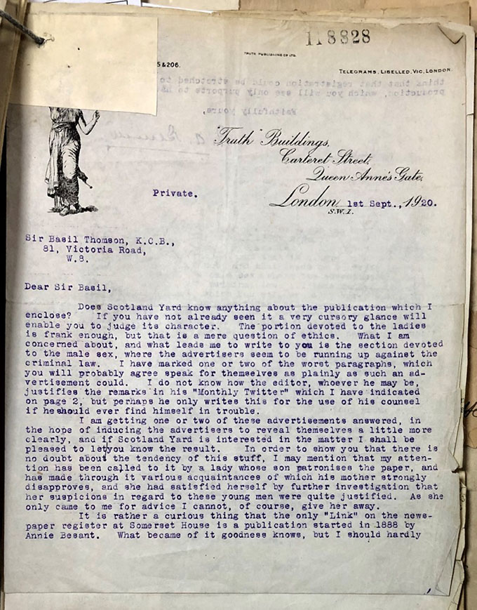 Scanned copy of the letter of complaint by R A Bennett, as sent into Scotland Yard.