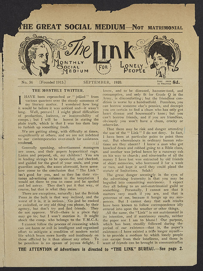 A scanned page extract from The Link, a monthly social medium for lonely people, dated September 1920.