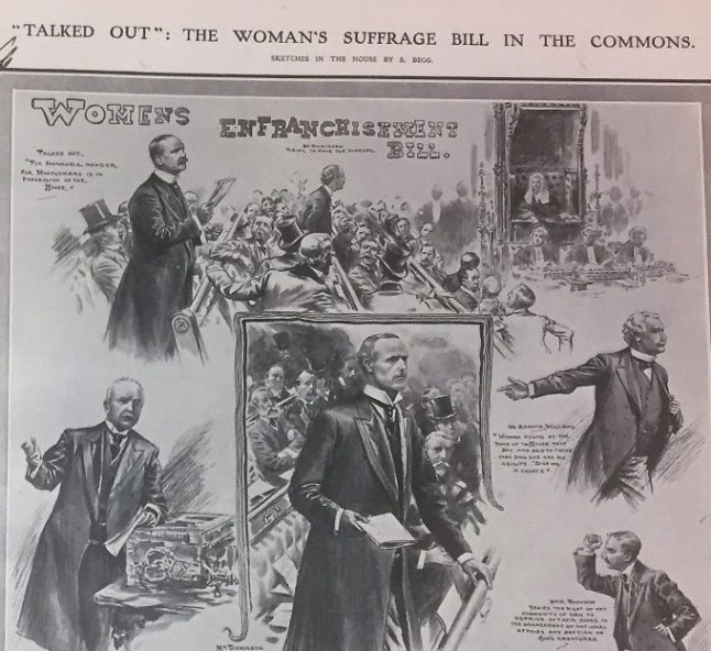 Image of a drawing depicting a Women's Suffrage Bill being talked out of the Commons, March 15 1907. Illustrated London News, 1907 Jan.-June. Reference: ZPER 35/130.