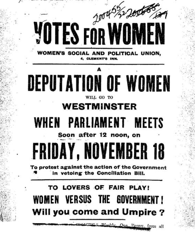"Image of a handbill by the WSPU advertising the Black Friday deputation, which pitched the demonstration as ""Women versus the government!"" Reference: HO 144/1106/200455."