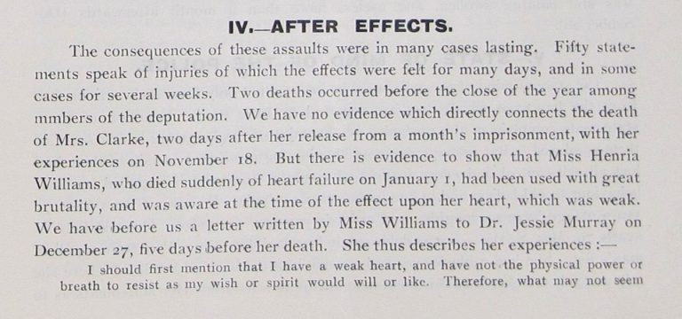 "Image of an extract from the pamphlet ""Treatment of the Women's Deputations by the Police"" commenting on the deaths of Suffragettes Mary Clarke and Henria Williams. Reference: MEPO 3/203."