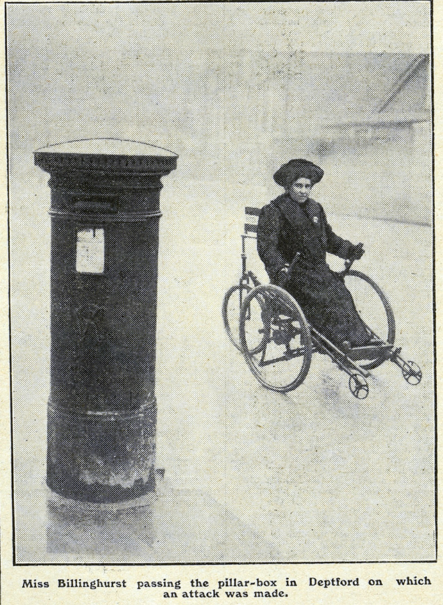 Rosa May Billinghurst depicted in her hand tricycle in a copy of The Suffragette.