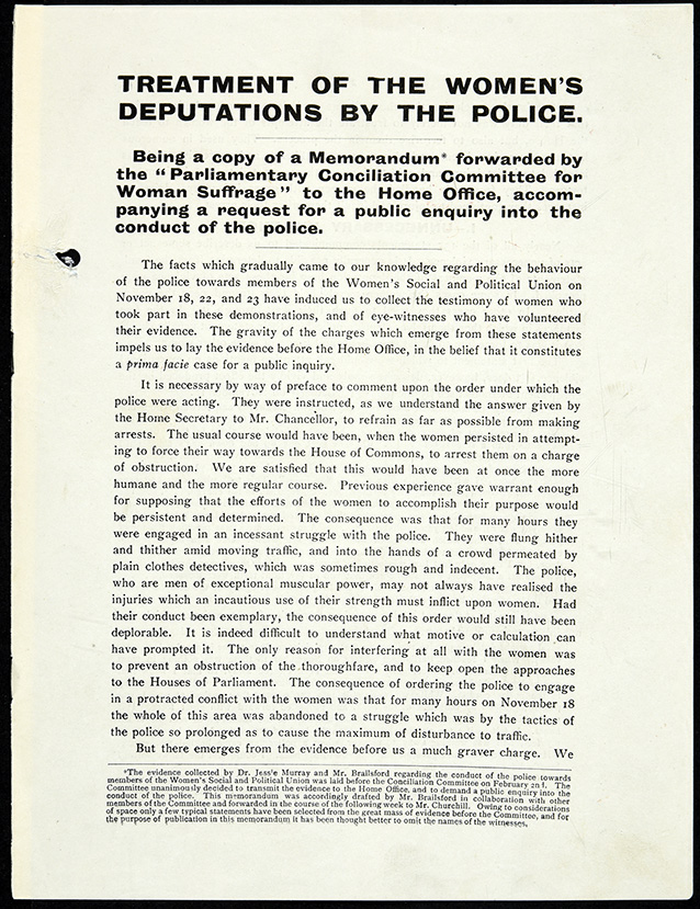 Image of the front page of a pamphlet entitled 'Treatment of the Women's Deputations by the Police', which was forwarded to the Home Office by the Conciliation Committee.