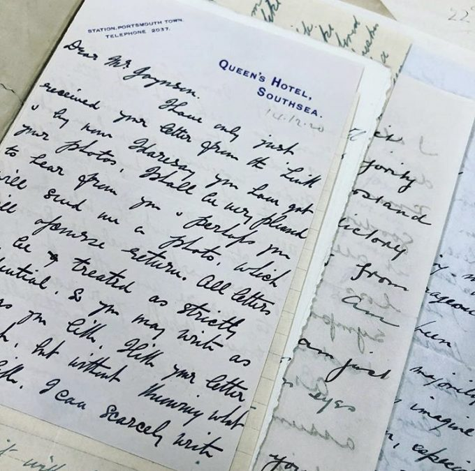 Image of a selection of love letters found by the Police on Ernest [Ernie] Smyth in Belfast. Reference: MEPO 3/283.