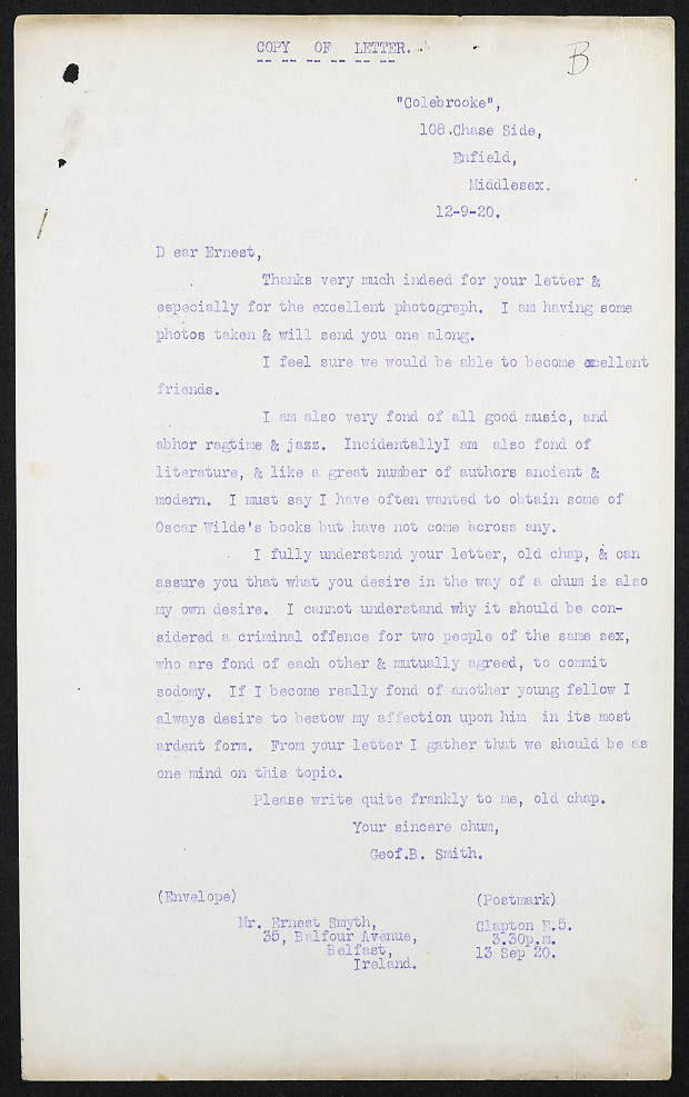 Image of a love letter to 'Dear Earnest' from his 'sincere chum' Geof B Smith, typed up as evidence in a police file. Catalogue ref: MEPO 3/283.