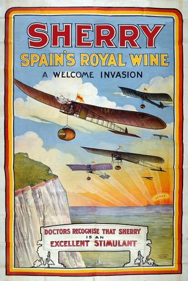 Poster advertising Sherry Spain's Royal Wine, 1909. The image shows planes flying over white cliffs and sea laden with barrels of wine.