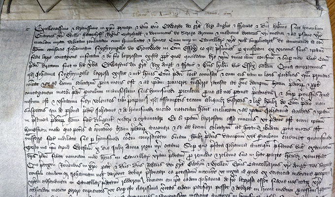Document which shows Joanna Nightingale proving her health before royal officials [July 1468].