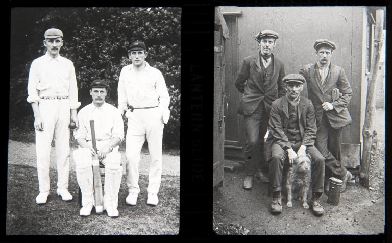 Graphic containing two adjacent photographs. On the left, three men in cricket whites; on the right, the same three men dressed for work in a coal mine.