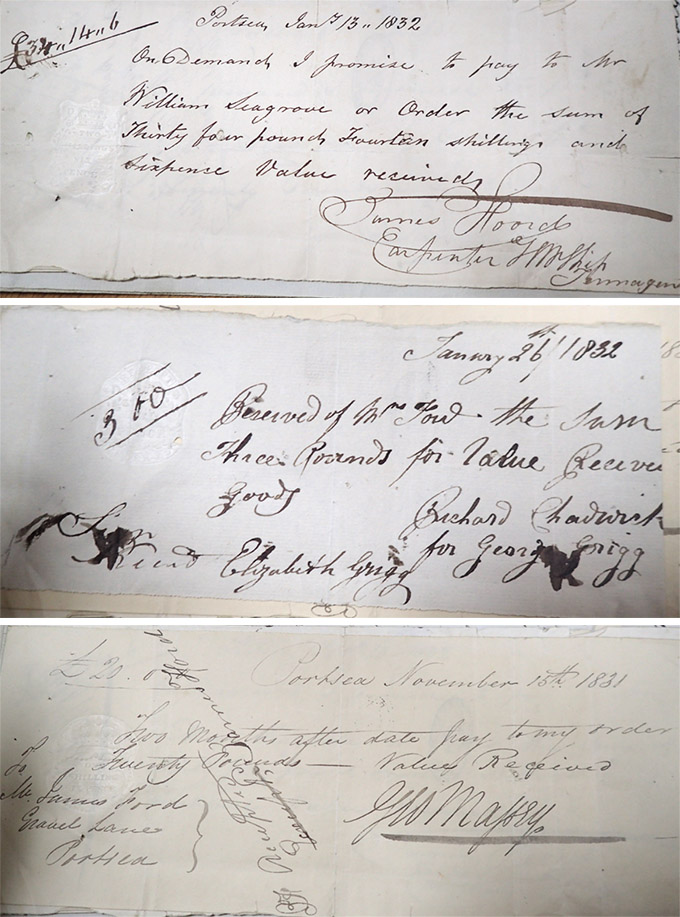 Three samples of selected handwritten debt receipts of Eliza Foord amounting to £100 and 1 shilling (est. £6,783 today). Between 1831-1832 she accumulated debts four times the worth of her £25 per annum pension (est. £1,700 today).