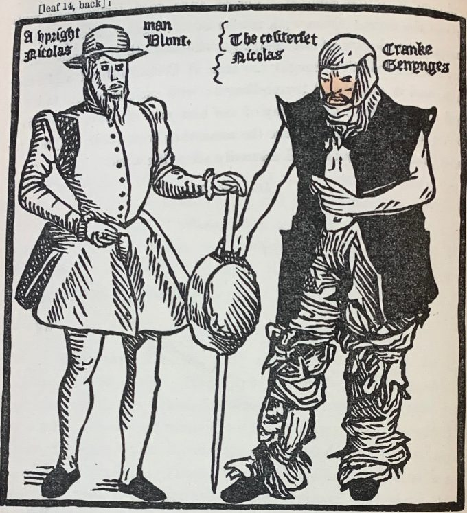 Woodcut depicting, on left, smartly dressed 16th-century man and on right, man dressed in rags with padding round his head and legs