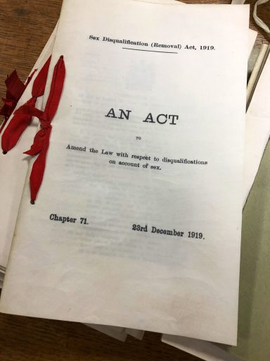 Photo of the front cover of the Sex Disqualification (Removal) Act, 1919, The National Archives. C 65/6404.