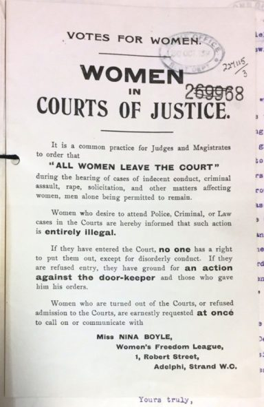 Image of a flyer by the Women's Freedom League, who complained to the Home Office about the exclusion of women during sexual offences trials.